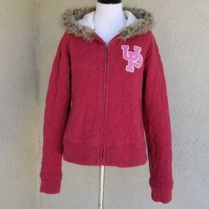 Pink Victoria's Secret Zip Up Hoodie Puff Jacket